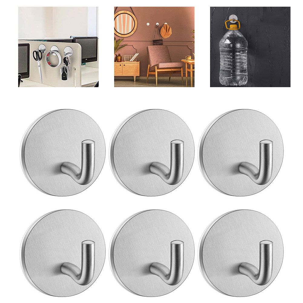 6PCS Self Adhesive Hooks Heavy Duty Stainless Steel Rack Towel Wall Sticky Hooks Kitchen Wall Hanger Holder Bathroom Accessories 10 15 pack s hanging hooks stainless steel heavy duty s hanger hooks l 4 8 m 3 5 s 2 5 metal kitchen pot rack closet hook