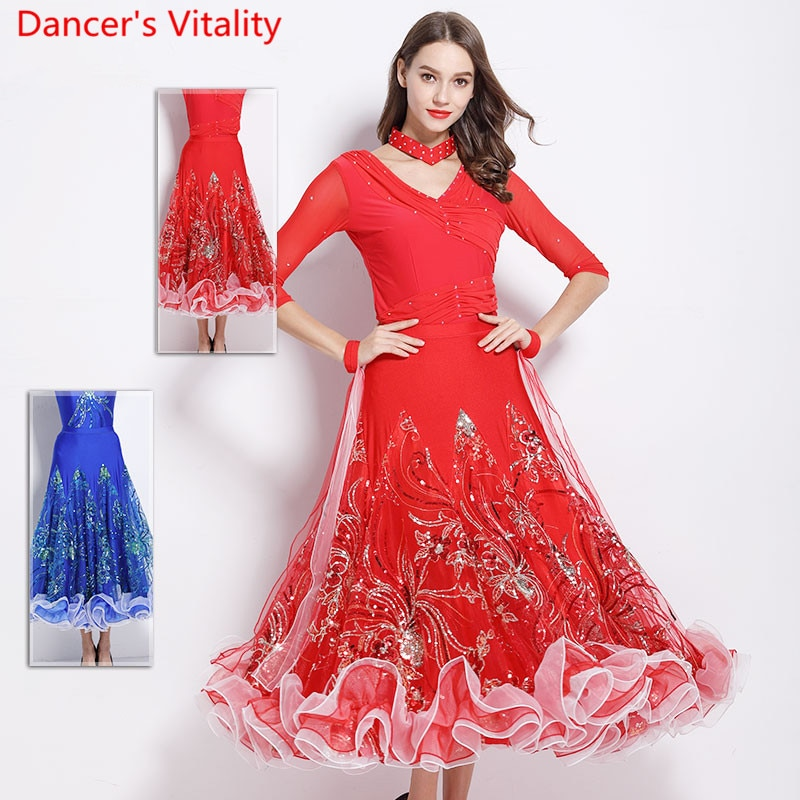 Ropa de danza moderna para adultos, falda de gran dobladillo de lentejuelas de seda de hielo elástica para mujeres, tela de práctica de baile de Jazz de vals estándar nacional para salón de baile
