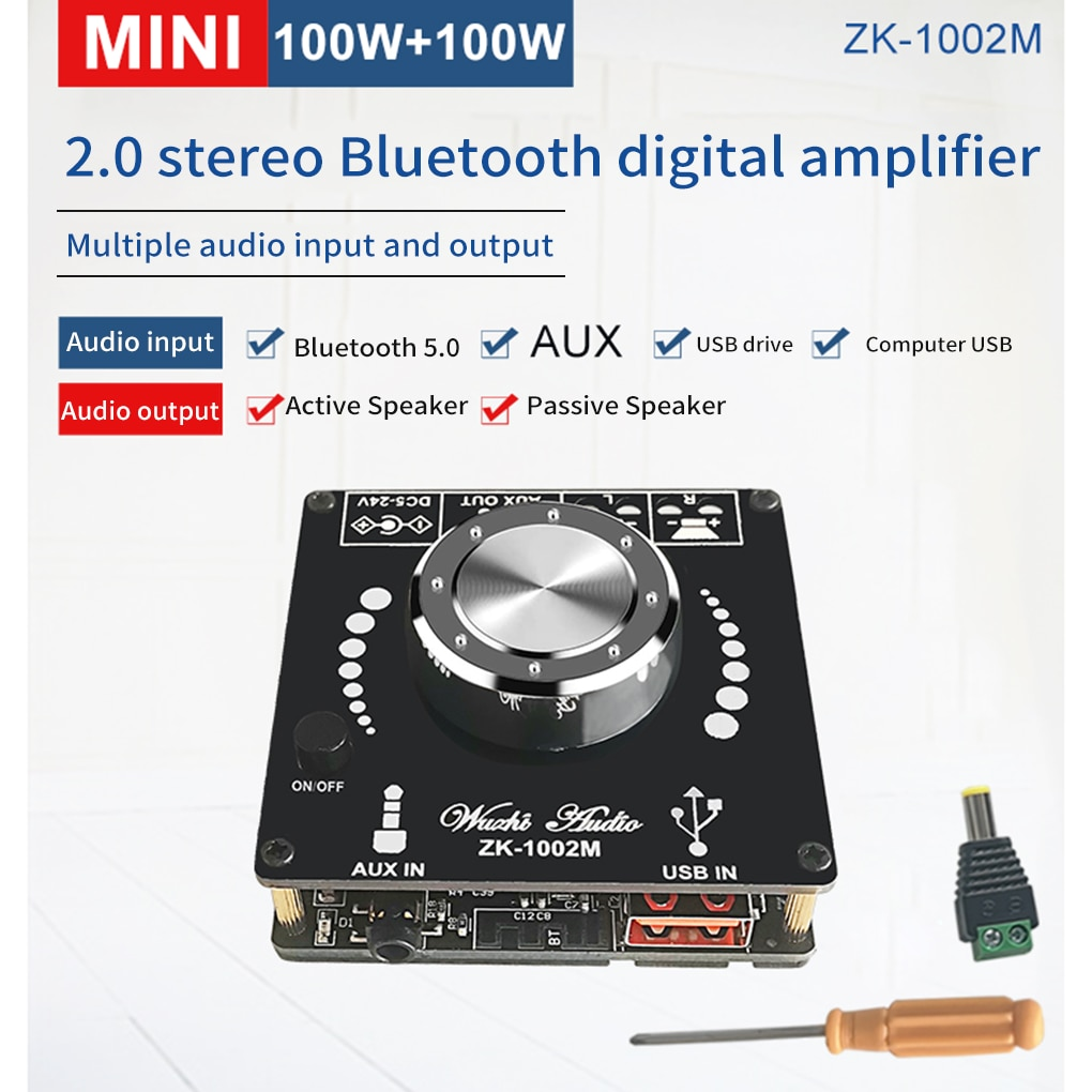 ZK-1002M 100W + 100W Bluetooth 5,0 placa amplificadora de Audio estéreo AMP...