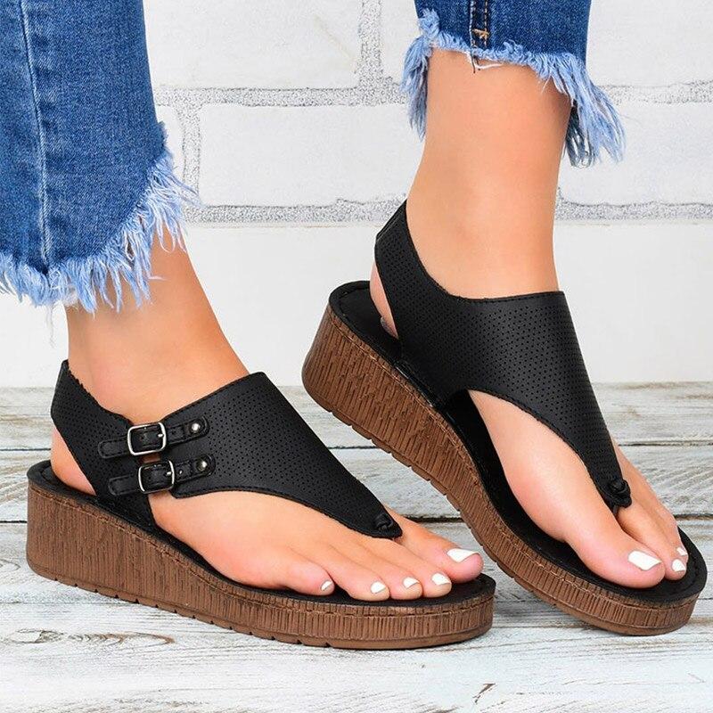 Sandálias de Salto Sapatos para Mulher Sandálias Femininas Novas Plataforma Cunhas Verão Sandalias Mujer Casual Flip Flops Tamanho Grande 43 2021
