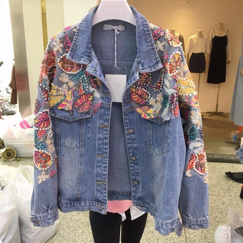 New 2021 autumn women crystal sequins beading casual denim jackets plus size loose women jean coats A505