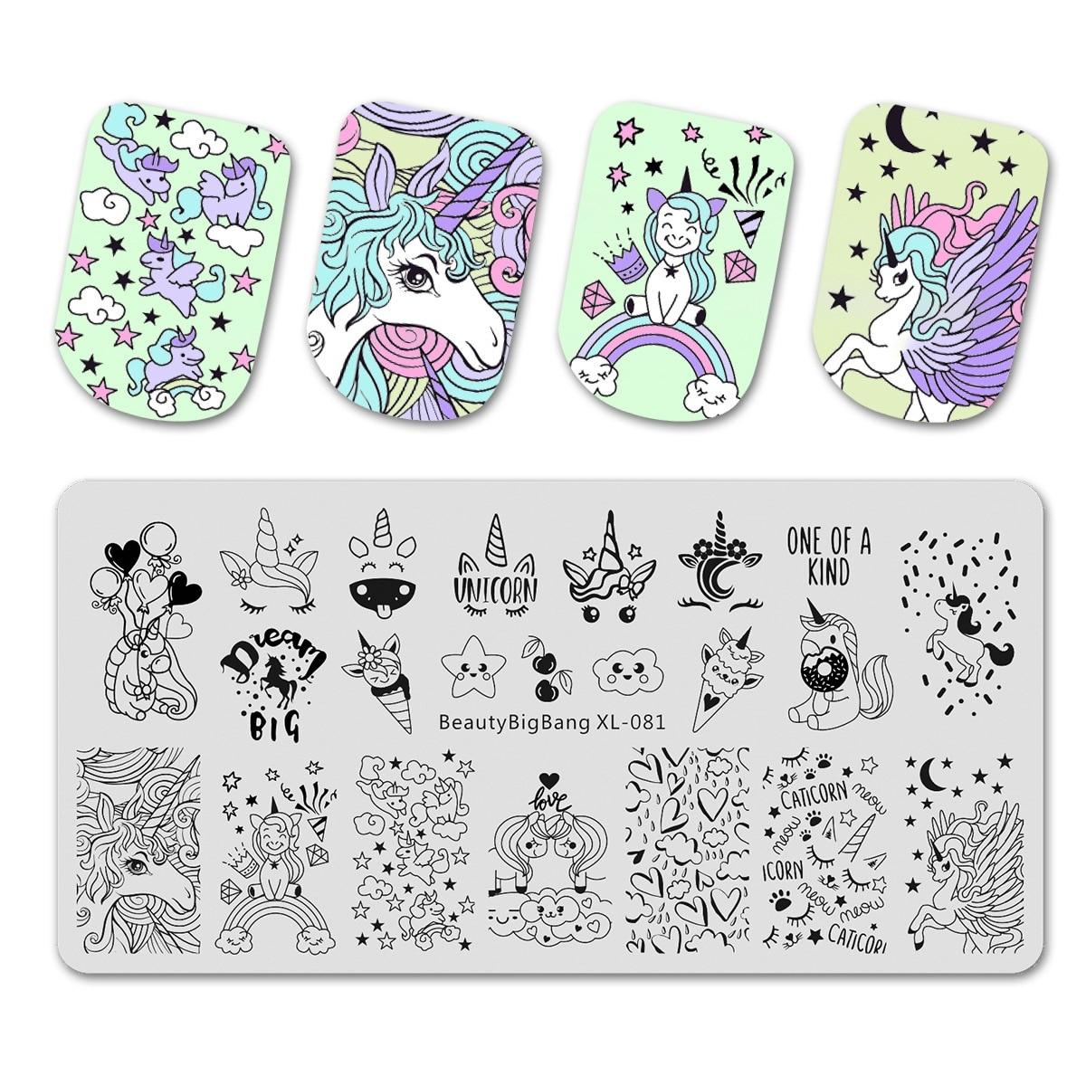 Belleza Bigbang placas de estampado lindo unicornio nube estrella patrón de helado molde para arte de uñas herramienta accesorios sello plantilla XL-081
