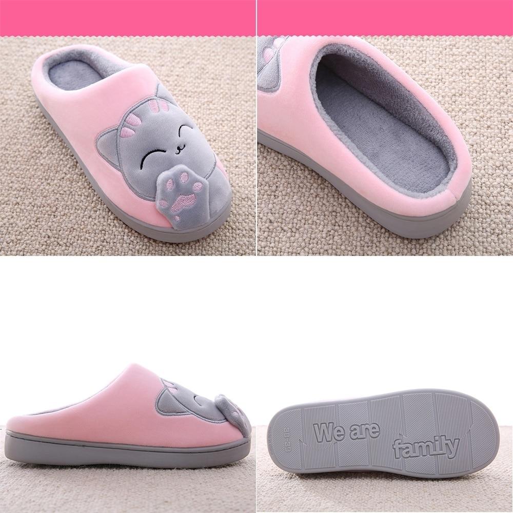 Women Winter Home Slippers Unisex Cartoon Cat Shoes Non-slip Soft Winter Warm House Slippers Indoor Bedroom Couples Floor Shoes