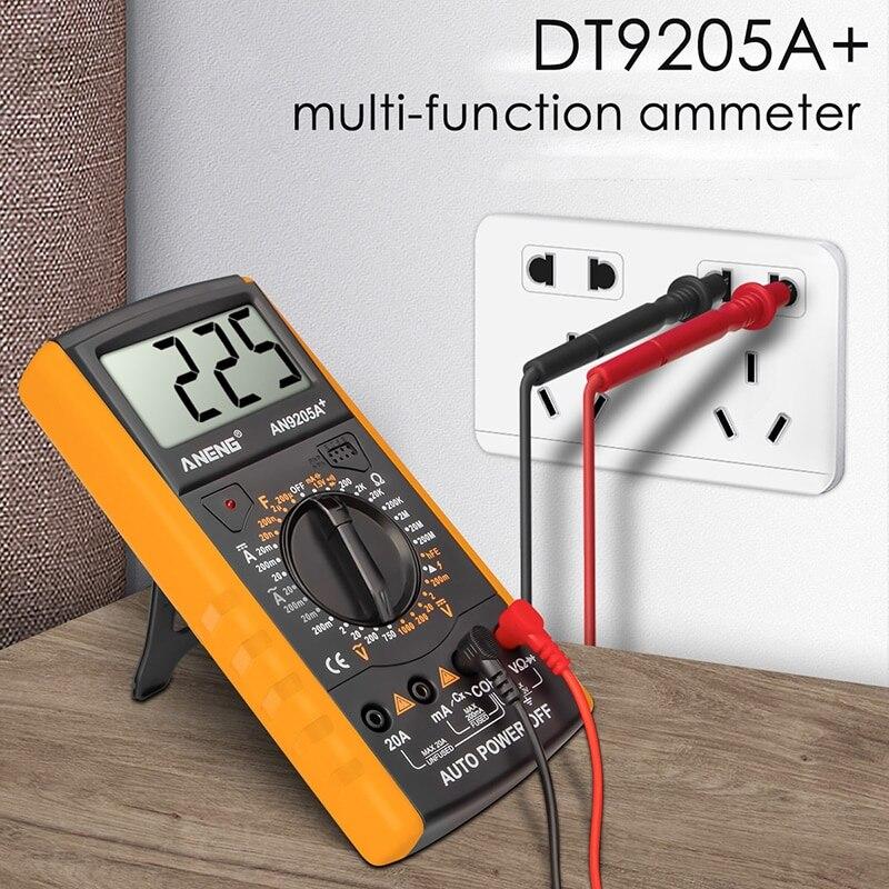 Multímetro Digital DT9205A +, probador de Transistor Profesional DC, medidor de prueba...