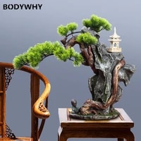 new chinese style simulation welcomes pine bonsai rockery micro landscape ornaments room decoration accessories