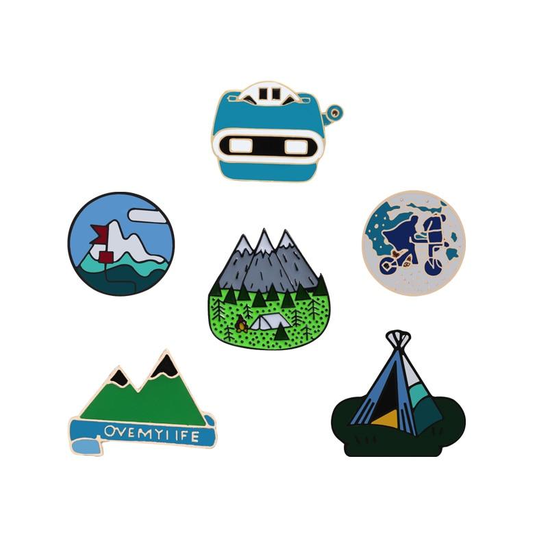 Travel Enamel Pins Adventure Mountain Forest Tent Bus Pin Explore Nature Green Button Badge Women Men Jackets Lapel Pins Gifts