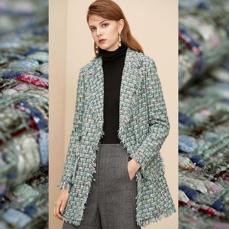 Limited French imports grass soft tweed fabric for coat skirt bazin riche getzner tissu telas tissus stoffen tela tecido stoff