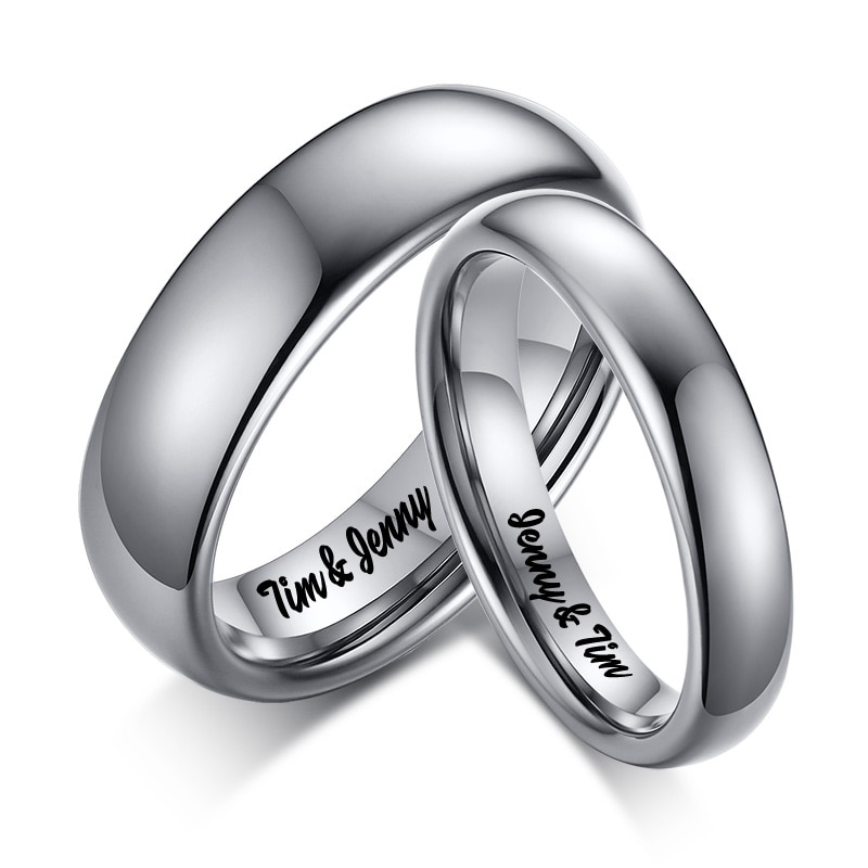 High Quality Simple Tungsten Rings Free Engraved Name Men Women Exclusive Couple Wedding Ring Wholesale Fashion Jewelry custom name high quality stainless steel wholesale simple ring fashion gold rings jewelry for women s exclusive wedding ring