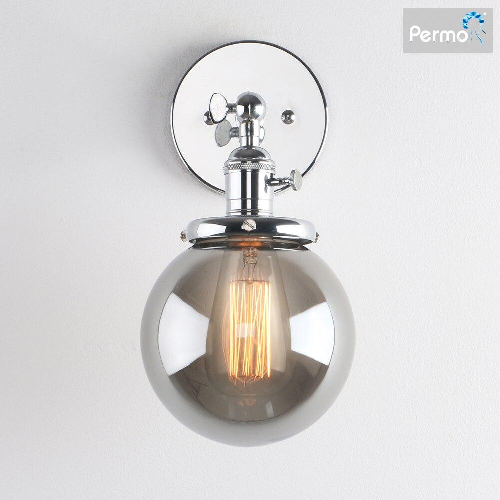 Permo Vintage Wall Lamp Modern Smoky Gray Glass Wall Sconce Lights Fixtures luminaire Wandlamp Bedside Bedroom Light Loft Decor