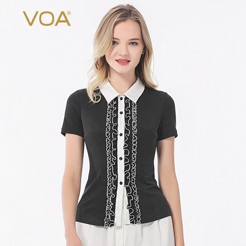 VOA silk 33mm doble cara de punto de cuello de POLO hongo encaje bump material costura de una sola hilera de camisa de manga corta B97