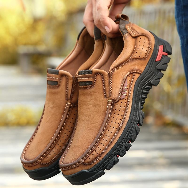 Genuine Leather Men Shoes England Trend Male Footwear Set Foot Men's Casual Outdoors Black Man Flats