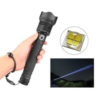 super bright zoom led flashlight 3 lighting modes torch camping hiking hunting usb charging volume display aluminum alloy xhp70