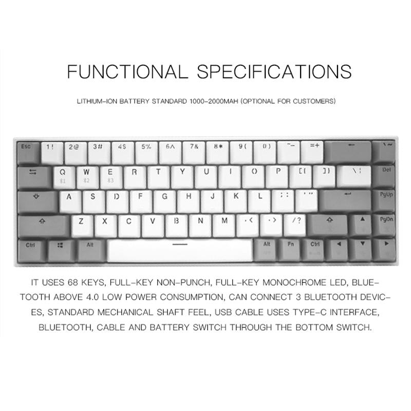 FL ESPORTS 68 Keys Hot Swap Socket Gaming Mechanical Keyboard Kailh box switch inside for PC Laptop Office Work