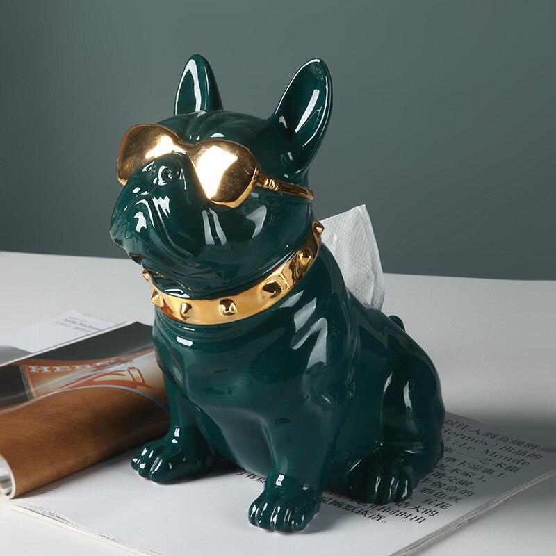 Lovely dog fighting tissue box creative home decoration luxury living room decoration ceramic decoration
