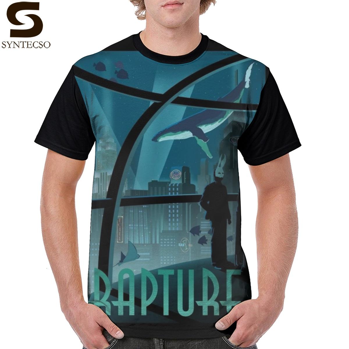 Camisa de t de choque do sistema rapture-bioshock camiseta impressa casual camiseta masculina bonito 5x poliéster gráfico tshirt