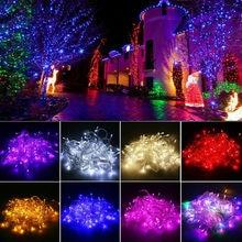 10M 100LED s jeu de lumière clignotant LED multicolore guirlande perles en plein air imperméable vacances fête arbre de noël décor 110V 220V