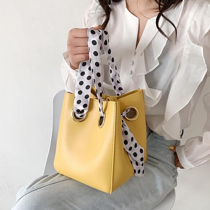 Fashion Women Bucket Bag PU Leather Shoulder Bags Brand Designer Ladies Crossbody Messenger Bags Totes Sac Female handbag yellow