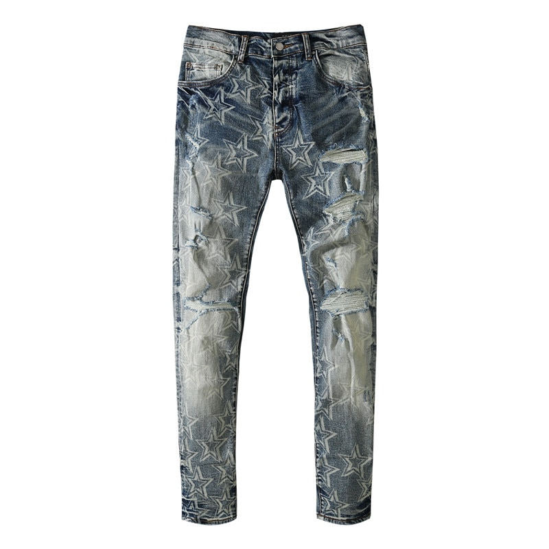 American Famous Brand AMR 2021 Jeans for Men Five-pointed Star Print Vintage Ripped Jeans Men Trousers Traf Men's Clothing