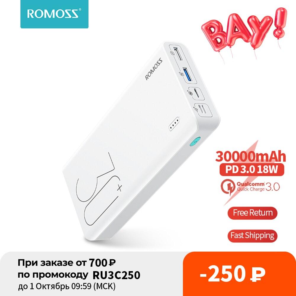 ROMOSS Sense 8+ Power Bank 30000mAh QC PD 3.0 Fast Charging Powerbank 30000 mAh External Battery Charger For iPhone 13 Xiaomi Mi