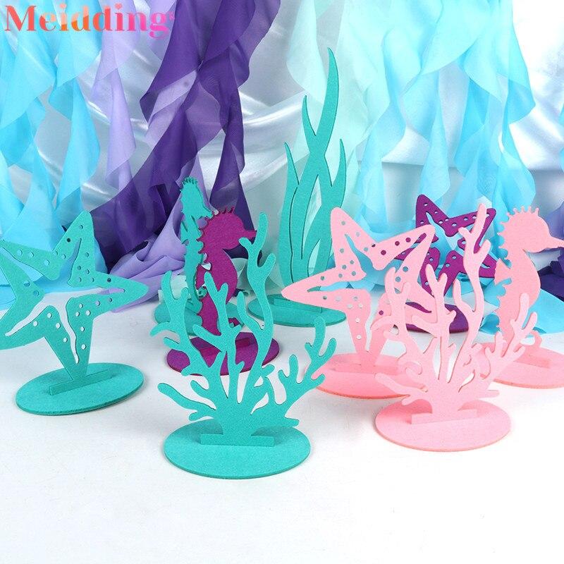2 pçs sereia diy sentiu decorações de mesa sob o mar pequena sereia decoração de festa menina 1st aniversário fontes do chuveiro do bebê