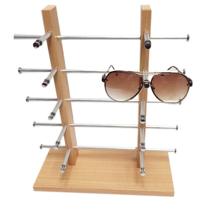2 filas 5 capas de madera gafas de sol Rack titular montura gafas venta Show organizador de soporte de pantalla para 10 pares de gafas de sol
