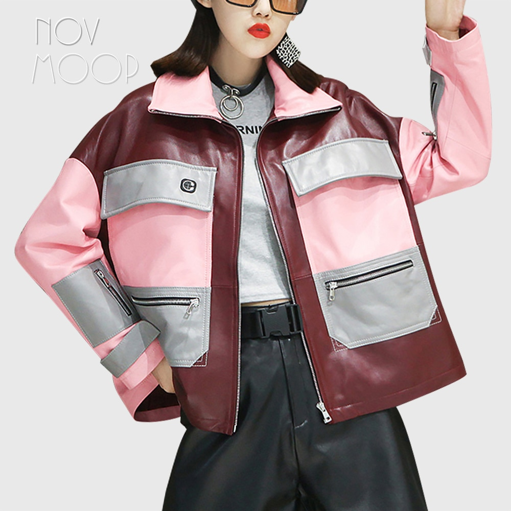 Novmoop-معطف نسائي من جلد الغنم ، كتلة ألوان 2020 ، نمط سفاري ، مع حامل خيط سماعة أذن ، جيب ، LT3272