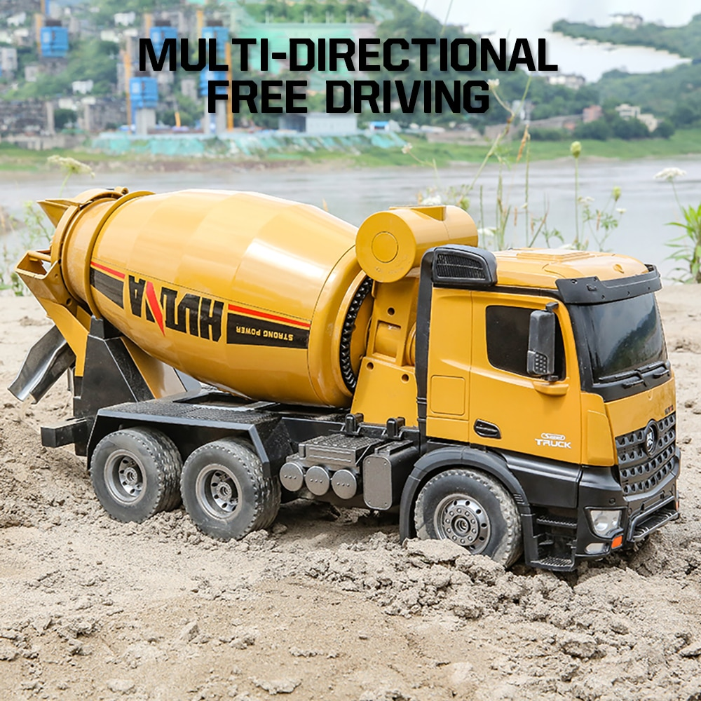 Huina 1:14 10 Channel Rc Mixer Truck Tractor Caterpillar Engineering Car 2.4Ghz Renmote Control Car Rc Trucks Toys for Boys Gift enlarge