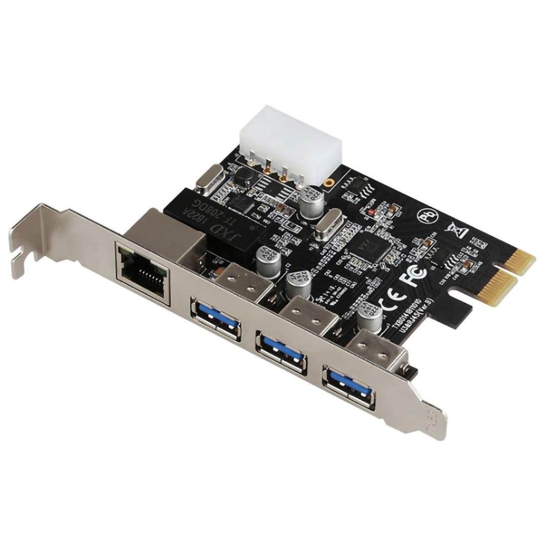 PCI-E a 3 puertos externos USB 3,0 HUB + RJ-45 Gigabit Ethernet tarjeta de red 10/100/1000Mbps PCI Express USB3.0 adaptador LAN Combo