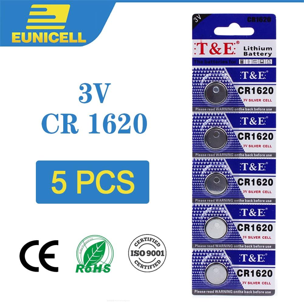 5 stücke Lithium Cell-münze Batterie 3V CR1620 CR 1620 Taste Batterien ECR1620 DL1620 5009LC Für Uhr Spielzeug Fernbedienung elektronische Auto Schlüssel