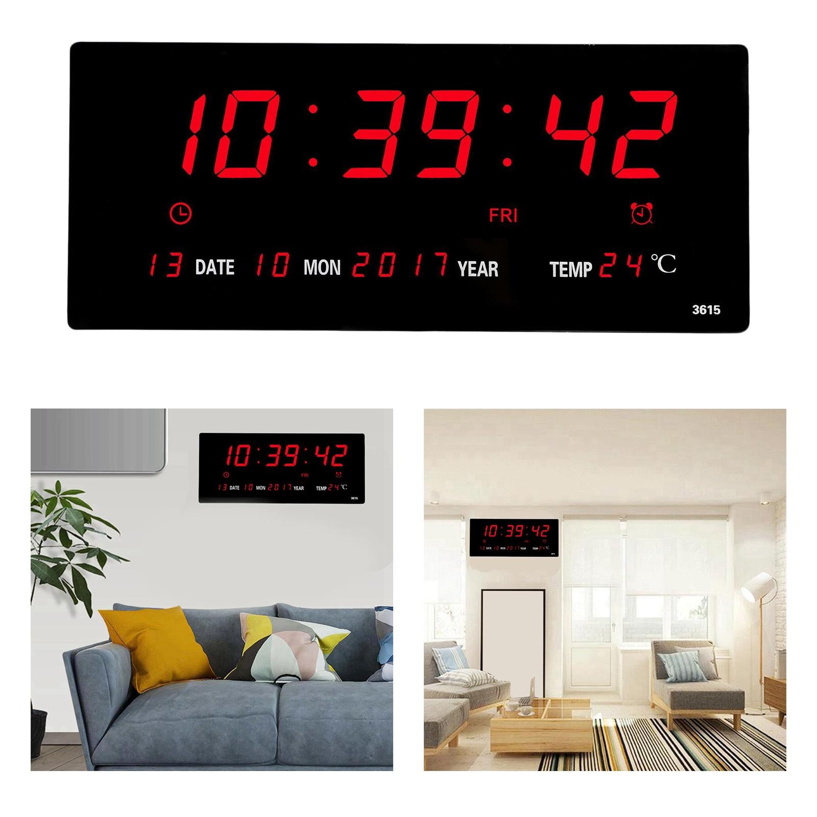 LED ساعة حائط رقمية التقويم عرض كبير ث/تاريخ درجة الحرارة في الأماكن المغلقة ومشاهدة اليوم للزينة غرفة المعيشة المنزلي