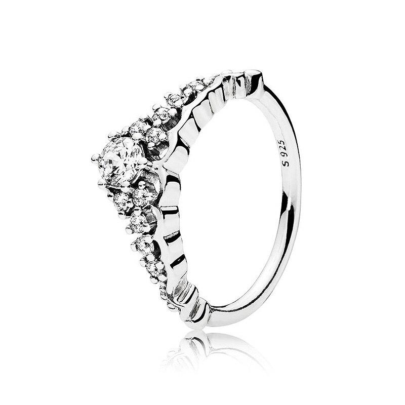 Authentic 925 prata esterlina anel de conto de fadas tiara com anéis de cristal para festa de casamento feminino presente jóias finas