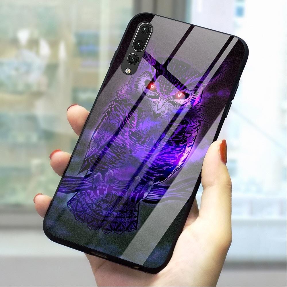 Cubierta de teléfono de vidrio templado de búho Animal para Huawei P10 LITE funda Honor 9 10 Lite 7A P10 P20 P30 PRO P Smart Mate 20 Lite