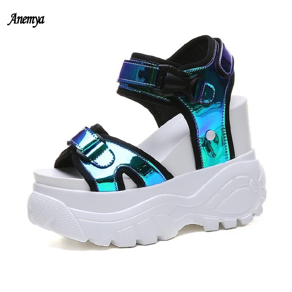 Platform Sequins Women's Sandals 2021 New Summer Chunky High Heels Female Wedges Shoes For Women Fish Toe Sandalia Woman Orange
