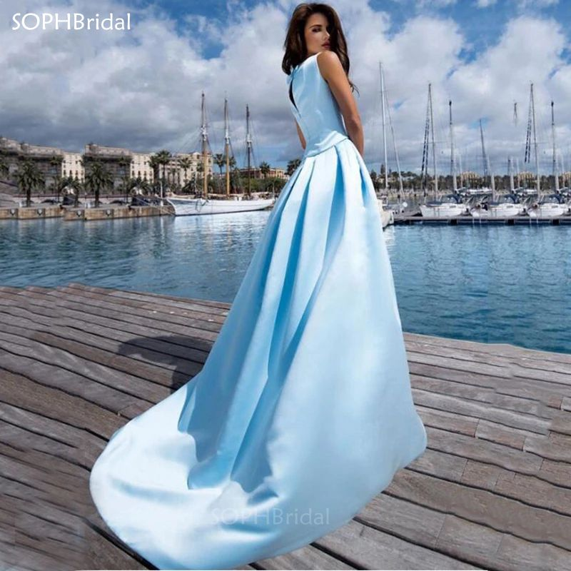 New Arrival A-Line Evening Dress Satin Long Special Occasion Gowns Pocket Women Formal Celebrity Gown Vestidos Formales Robes