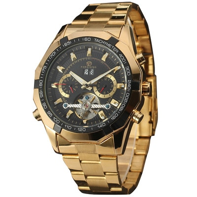 Automatic Mechanical Watch For Men Double Calendar Steel Band Watch Trendy Personality Temperament 2021 The New Style Fashion enlarge