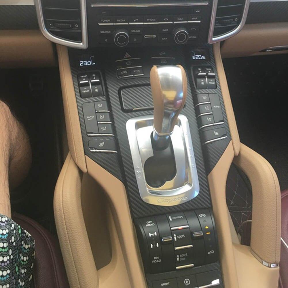 Для Porsche Cayenne 2010-2016 внутренняя Центральная панель управления дверная ручка наклейки из углеродного волокна наклейки аксессуары для стайлин...