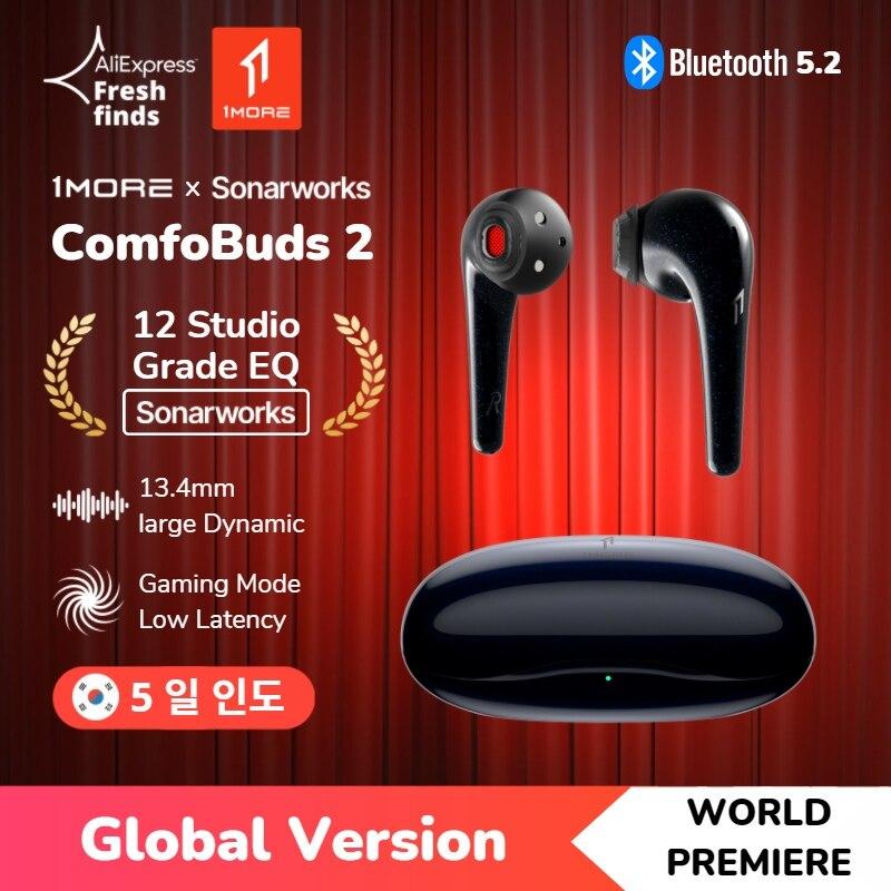 Première mondiale 1MORE ComfoBuds 2 écouteurs sans fil Bluetooth 5.2 Tws ,12 égaliseurs musicaux par Sonarworks, lecteur dynamique de 13,4 mm avec haut et bas, mode de jeu pour une faible latence, 24h Battery écouteur