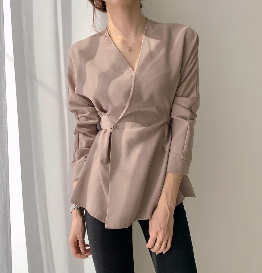 HziriP, camisa negra Vintage de manga larga con cuello en V para Mujer, novedad de 2020, ropa de trabajo de dama para oficina, Blusas, camisas sueltas para Mujer, Blusas para Mujer