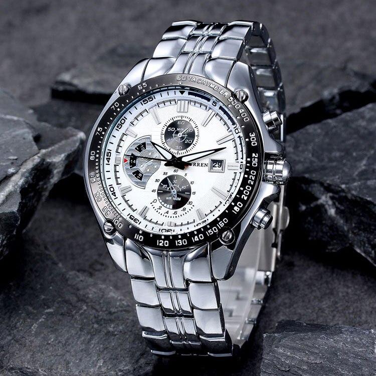 Reloj Casual a la moda para hombre, marca CURREN, reloj de pulsera deportivo de cuarzo, esfera grande, reloj de acero impermeable, reloj Masculino