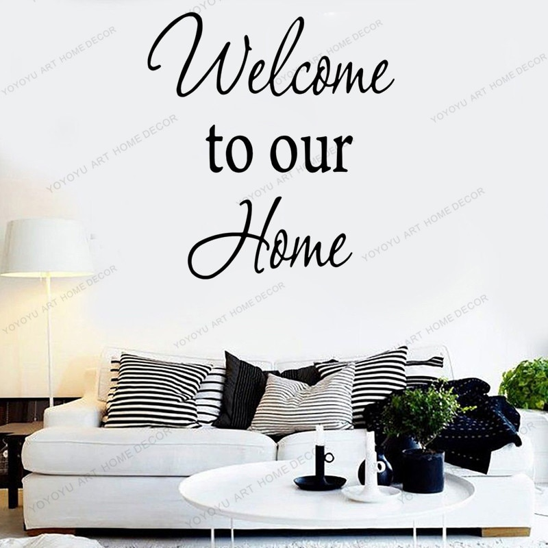 Pegatinas para pared con frases de amor familiar, pegatinas para pared, Bienvenido a nuestro hogar, vinilo, pegatina con cita para entrada, decoración de pared, extraíble WX34
