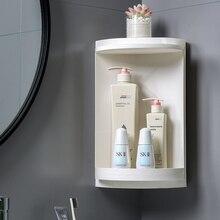 الحمام الدورية الزاوية ماكياج المنظم 2 طبقات مستحضرات التجميل تخزين الرف الحائط نوع البلاستيك معلقة الشلف للحمام