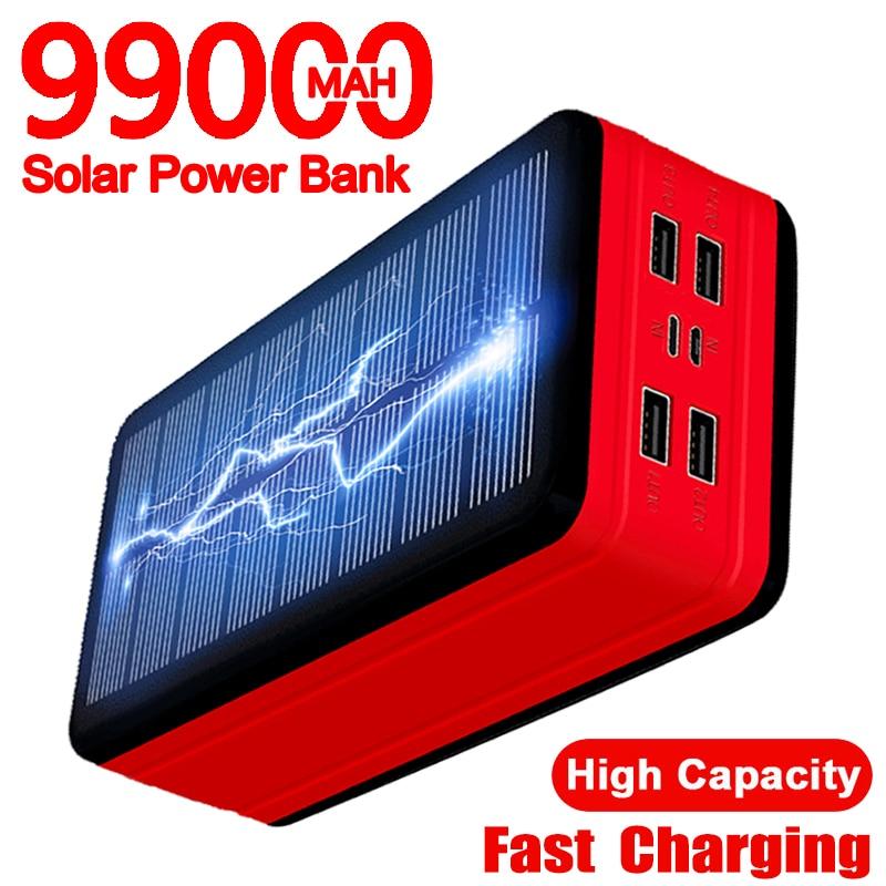 99000mAh بنك الطاقة الشمسية شاحن بطارية مع LED 4USB قدرة عالية المحمولة في الهواء الطلق السفر في حالات الطوارئ ل شاومي سامسونج