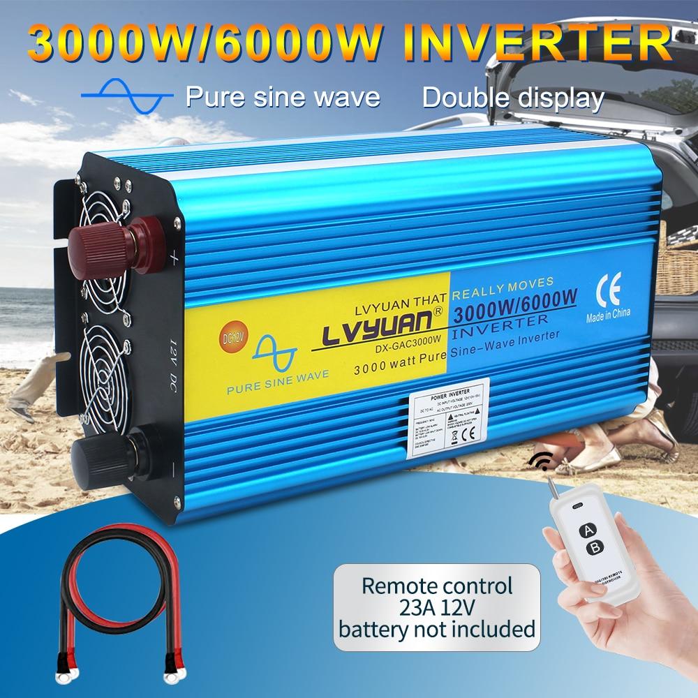 Inversor de corriente inalámbrico de 6000W, salida de control/hogar/con pantalla de doble LED, onda sinusoidal pura DC24V a AC 220V-240V 3.1A, inversor USB