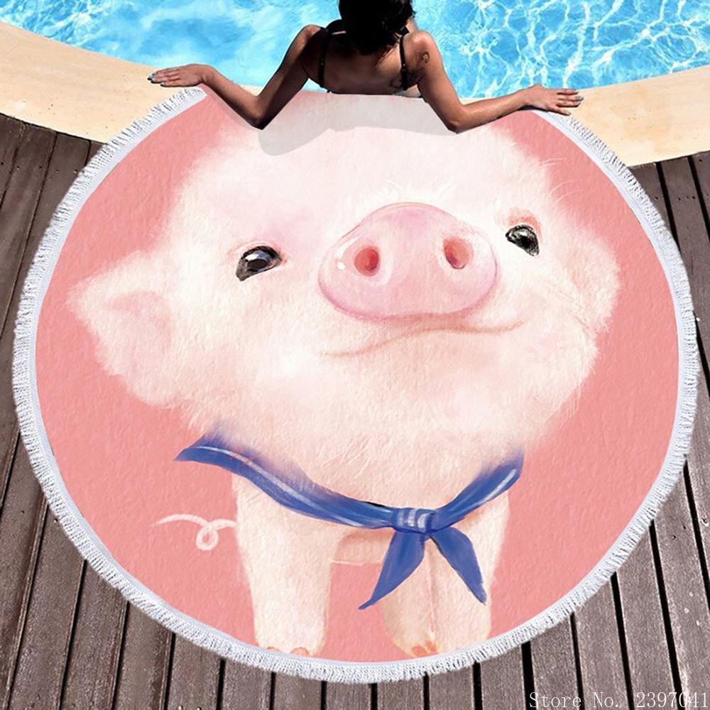 البطريق خنزير الخنزير الدب الحيوان شاطئ حمام منشفة بطانية البحر المستديرة Kawaii اليوغا السجاد نزهة حصيرة ماصة Manteau غطاء عباءة