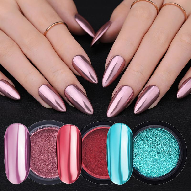 Rose Gold Bubble Mirror Powder Metallic Nail Glitter Holographics Chrome Dust Sparkling Flakes Pigme