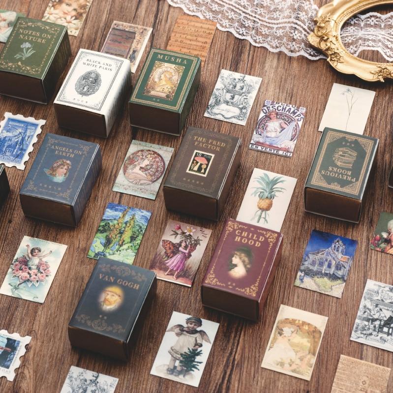 100-pz-pacco-library-collection-etichetta-ufficiale-diario-album-decor-adesivi-francobolli-d'epoca-retro-scatola-di-fiammiferi-scrapbooking-adesivo-di-carta