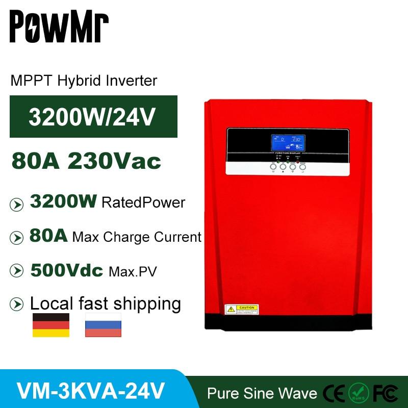 MPPT 80A 3200 واط 220/230VAC الجهد واسعة نقية شرط موجة شاحن بالطاقة الشمسية 3200VA خارج الشبكة عاكس شمسي هجين ودعم بطارية ليثيوم