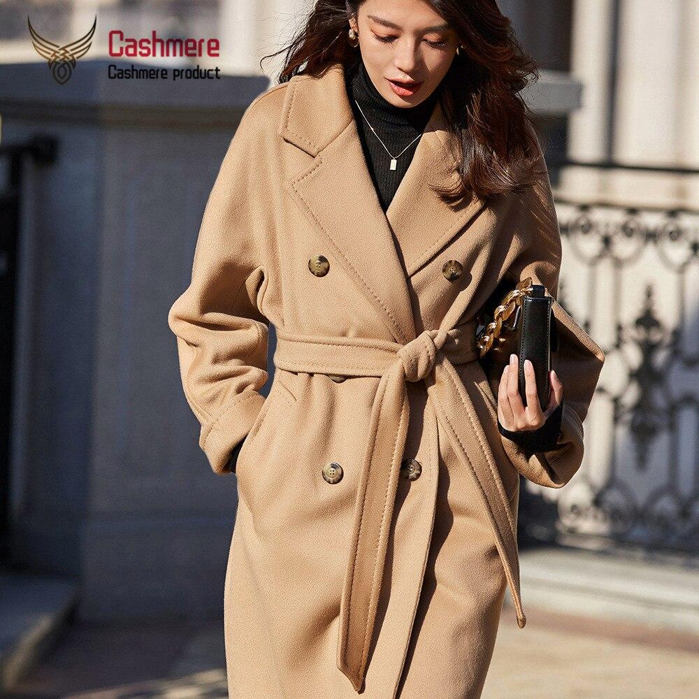 Capa de lana femenina 2020 otoño e invierno nuevo clásico abrigo de lana cálido largo de doble botonadura abrigo grueso femenino de talla grande