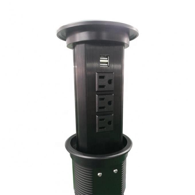 Review High-end Hidden Audio Countertop Phone Wifi Smart Motorized Pop Up Socket For Kitchen Worktops