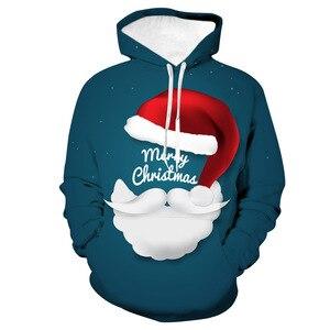 Unisex Santa Claus Christmas 3D Digital Print Loose Hooded Sweater Pullover Women Men Xmas New Year Baseball Sweatshirt Hoodie